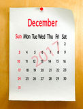 Calendar for December 2017 close-up. Royalty Free Stock Photography