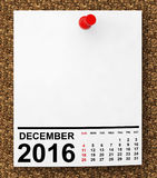 Calendar December 2016. 3d Rendering. Calendar December 2016 on blank note paper with free space for your text.3d Rendering Royalty Free Stock Image