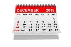 Calendar December 2018. 3d rendering royalty free stock photography
