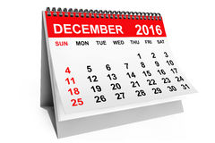 Calendar December 2016. 3d rendering. 2016 year calendar. December calendar on a white background. 3d rendering royalty free illustration