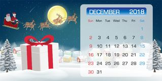 Calendar of DECEMBER 2018 gift box and santa claus. A calendar of DECEMBER 2018 gift box and santa claus Royalty Free Stock Image