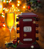 Calendar, December 31, glasses with champagne Stock Image