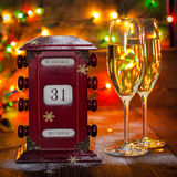 Calendar, December 31, glasses with champagne Royalty Free Stock Photos