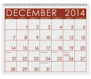 2014 Calendar: December. 12 image series of months on the year in a 3d rendered calendar Royalty Free Stock Images