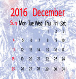 Calendar for december month on frosty background close-up Royalty Free Stock Photos