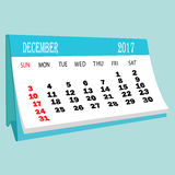 Calendar 2017 December page of a desktop calendar. Royalty Free Stock Photography
