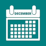 Calendar December. Simple white Calendar December, vector icon Stock Images