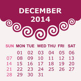 Calendar of December 2014 with spiral design. Vector illustration Royalty Free Stock Photo