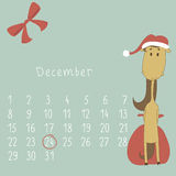 Calendar for december, 2014. Calendar with the symbol of the eastern horoscope. Year of the Horse vector illustration