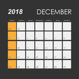 Calendar for December 2018. Template of calendar for December 2018 Royalty Free Stock Photography