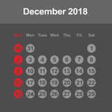 Calendar for December 2018. Template of calendar for December 2018 Royalty Free Stock Photo