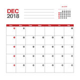 Calendar for December 2018 Royalty Free Stock Photos