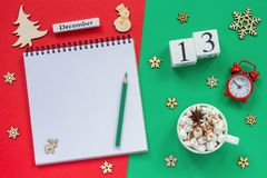 calendar December 13th cup cocoa and marshmallow, empty open notepad stock images