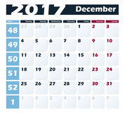 Calendar 2017 December vector design template. Week starts with Monday. European version Stock Photography