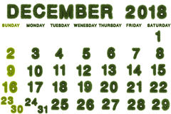 Calendar for December 2018 on white background. 3d rendering green grass Royalty Free Stock Image