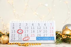 Calendar and decor on table. Christmas countdown royalty free stock photo
