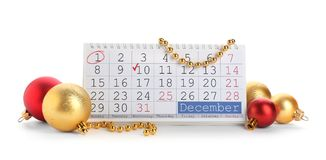 Calendar and decor. On white background. Christmas countdown stock image