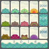 2016 Calendar decorated with circular flower mandala Stock Photos