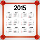 Calendar 2015. Decorated with red bows Royalty Free Stock Photos