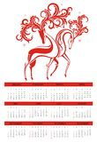 Calendar 2014 with deer Royalty Free Stock Photos