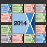 Calendar den 2014 år mallen, modern orienteringssida Royaltyfria Bilder