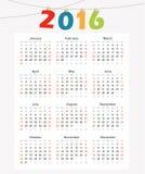 Calendar 2016, den enkla moderna designen, illustration Royaltyfri Fotografi