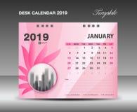 Calendar 2019, den Januari månaden, designen för vektorn för mallen för skrivbordkalendern, rosa färgblommabegrepp stock illustrationer