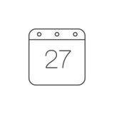 Calendar den tunna linjen symbolen, illustrationen för översiktsvektorlogoen, linea stock illustrationer