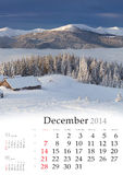 2014 Calendar. Desember. Beautiful winter landscape in the mountains Stock Image