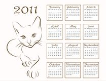 Calendar design 2011. With outline cat Royalty Free Stock Image