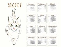 Calendar design 2011. With walking cat Stock Image