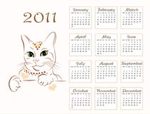 Calendar design 2011. With glamour cat Royalty Free Stock Image