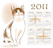 Calendar design 2011. With  ginger tabby cat Stock Photos