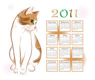 Calendar design 2011. With  ginger tabby cat Stock Photo