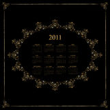 Calendar Design 2011. Black vintage Royalty Free Stock Images