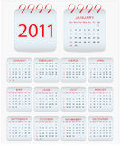 Calendar design 2011. With a red spiral Stock Photos