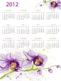 Calendar design for 2012. With floral ornament and orchids Royalty Free Stock Photography