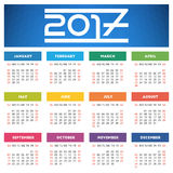 Calendar 2017 design with abstract blue geometric background. Week starts on Sunday vector illustration