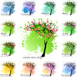 Calendar design with abstract tree and slogan Royalty Free Stock Photography