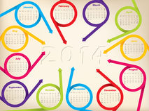 2014 calendar design arrow ribbons and shadow year Stock Photography