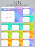 2018 calendar design. Calendar for the Year 2018. Vector template with colorful blurred background. There you can place a photo, image, slogan or text. Set of Stock Images