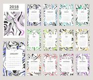 2018 calendar design. Calendar for the Year 2018. Vector template with trendy colorful marbling background. Set of 12 monthly pages and cover. Week starts on Royalty Free Stock Images