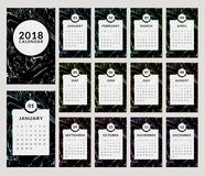 2018 calendar design. Calendar for the Year 2018. Vector template with trendy and stylish marbling background. Set of 12 monthly pages and cover. Week starts on Royalty Free Stock Photo