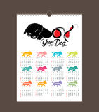 Calendar 2018 design. Chinese new year, the year of the dog zodiac monthly cards templates. Set of 12 month.  Vector Illustration