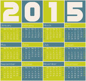 2015 calendar design with color rectangles. Simple 2015 calendar design with color rectangles Royalty Free Stock Photos