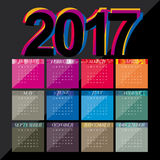 Calendar Design - 2017. Colorful New Year Numerals on a black background for a Calendar Design Stock Image