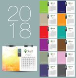 2018 calendar design. Coporate 2018 design template, fully customizable eps file, copy space for your logo, texts and images. modern and elegant desktop calendar Stock Photos