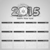 2015 calendar design. 2015 calendar with creative text and football on shiny grey background Royalty Free Stock Image