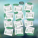 Calendar design, English. Sunday start. Blurred background. Vector illustration Royalty Free Stock Photography