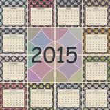 Calendar 2015 design. Geometric pattern backgrounds Stock Images